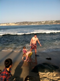 Playing on the beach at La Jolla